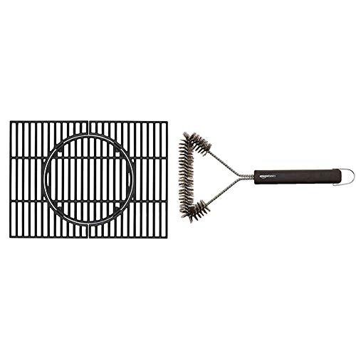 Tepro Universal Rost Guss Grillrost Set, schwarz, geeignet für Tepro Toronto (nicht für XXL) & Amazon Basics - Grillbürste, dreieckig, 30,5cm