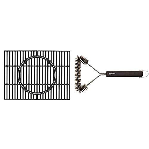 Tepro Universal Rost Guss Grillrost Set, schwarz, geeignet für Tepro Toronto (nicht für XXL) & AmazonBasics - Grillbürste, dreieckig, 30,5cm