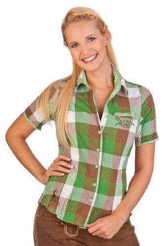 Spieth & Wensky Trachten Bluse Crashoptik, kurzer Arm - Simmy - grasgrün, rot, Navy, Größe 32