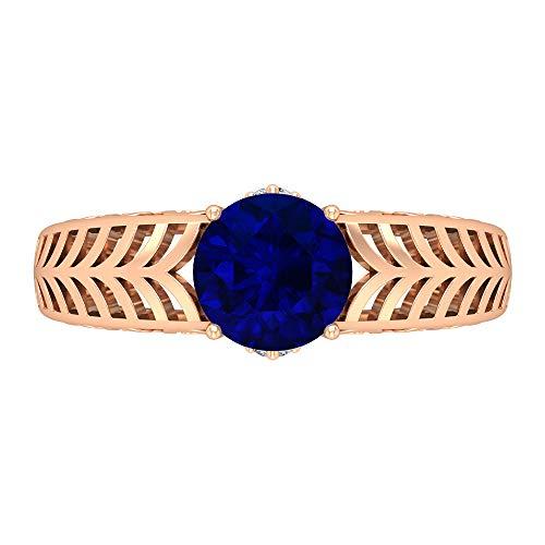 Anillo de compromiso de 7 mm con solitario zafiro azul creado en laboratorio, D-VSSI Moissanita y zafiro, anillo de filigrana de oro macizo, 10K Oro rosa, Size:EU 56