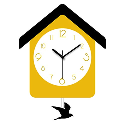 TDOYO Quartz Silent Wall Clock, Creative Cartoon House Shape, Bird Swing Design,Creative Swing Clock Sleek Minimalist, Best Gift for Children, 28 38CM,A