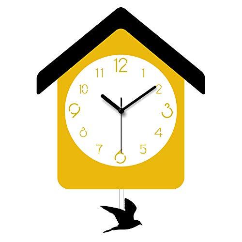 TDOYO Quartz Silent Wall Clock, Creative Cartoon House Shape, Bird Swing Design,Creative Swing Clock Sleek Minimalist, Best Gift for Children, 28 38CM,A