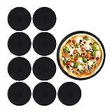 Relaxdays Pizzablech, 10er Set, rund, antihaftbeschichtet, Pizza & Flammkuchen, Carbonstahl, Pizzaform, ∅ 32 cm, schwarz