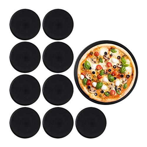 Relaxdays 10030760 Pizzablech, 10er Set, rund, antihaftbeschichtet, Pizza & Flammkuchen, Carbonstahl, Pizzaform, ∅ 32 cm, schwarz, Stahl