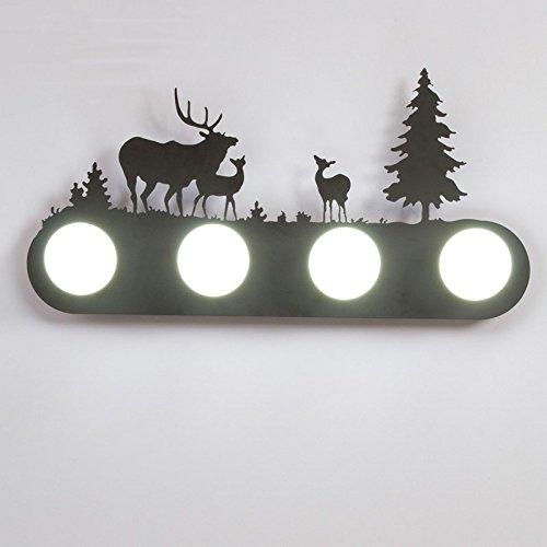 Retro mur industriel lampe lumière, le salon la chambre baignoire personnalité couloir avant miroir lampe avec ampoule, 60×30cm, trois cerfs, 5 watt LED lampe lumière blanc