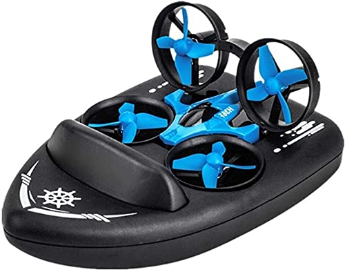 UimimiU Telecomando Drone Quadcopter, Rc. Nave in tre modalità di mare, terra e aria, velocità regolabile Rc. Hovercraft, giocattolo elettrico for barche for bambini, regali di Natale for ragazzi adul