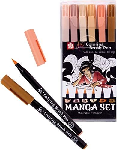 Sakura Koi Coloring Brush Pens MANGA-SET, 6 Pinselstifte Hauttöne