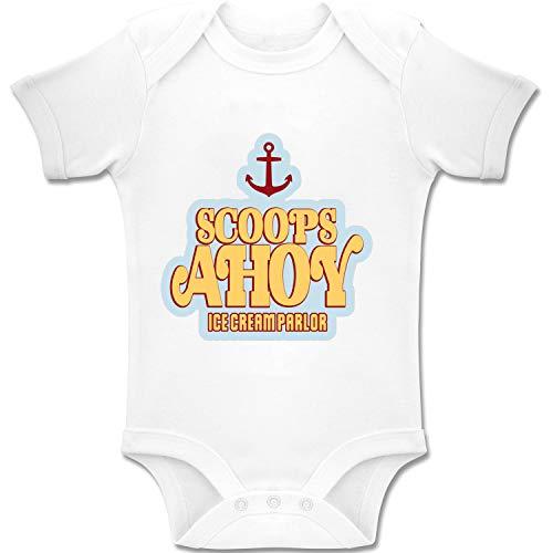 Acen Merchandise Stranger Things Scoops Ahoy Ice Cream Parlour - Korte mouw Babygrow Bodysuit Romper Zwart 100% Katoen (0-24 maanden) (0-3 maanden)