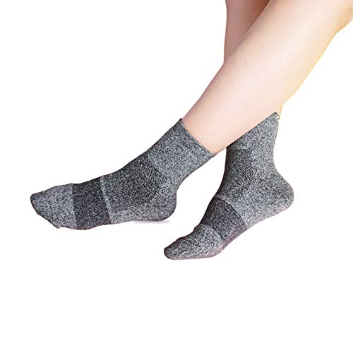 Comphy+ Hiking Socks - Moisture Wicking, Long Distance Hiking Socks - Arch Support, Heavy Duty, No Cotton, Cushioned Toe and Heel,Men and Women Ankle Compression Socks (Slate Grey, Medium)