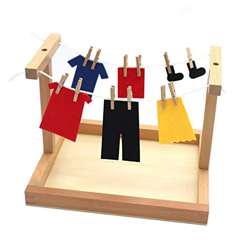 Milageto Montessori Toys Tendedero de Ropa con Clip de Juguete Habilidades Básicas para La Vida