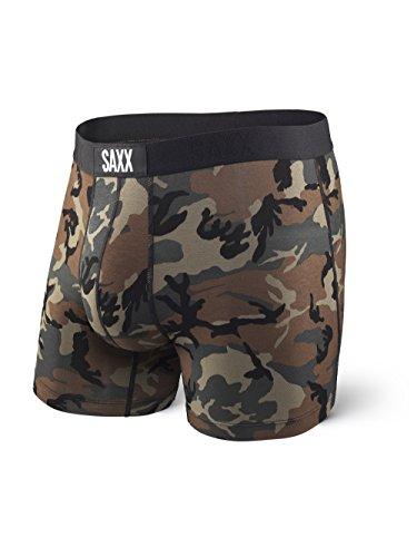 Saxx Underwear Men's Boxer Briefs – Vibe Men's Underwear – Boxer Briefs with Built-in Ballpark Pouch Support – Underwear for Men,Woodland Camo,Medium