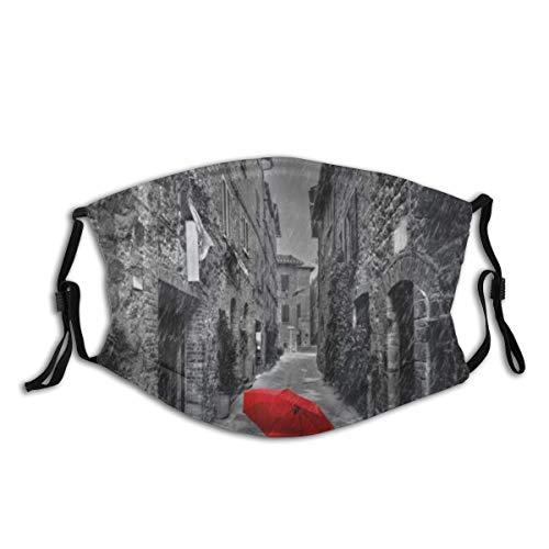 LASINSU Gesichtsbedeckung,Roter Regenschirm auf Einer dunklen schmalen Straße in der Toskana Italien regnerischer Winter,Wiederverwendbar Winddicht Staubschutz Mund Bandanas Outdoor Mit 2 Filtern