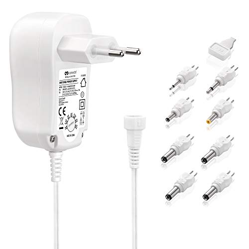 conecto Universal Stecker Netzteil (3V-12V Drehschalter, energiesparend + umweltfreundlich für eine stabilisierte Stromversorgung von Elektrokleingeräten) mit 8 Adaptern, max. 1000mA, weiß