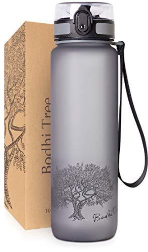 Bodhi Tree Trinkflasche - Getränke Flasche - Auslaufsicher, Leicht - mit Filter und Gurt - BPA frei - Sportflasche für Fitness, Sport, Schule - Einfache Reinigung - Geruchlos - 1l/650ml - Grau