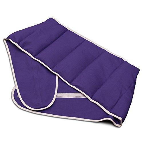 Faja térmica lumbar de semillas con cierre, largo aprox. 135cm, violeta. Cojín térmico para la espalda. Huesos de cerezas