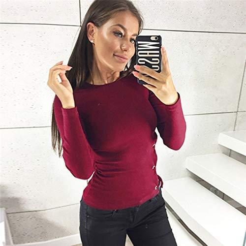 LFMDSY Frauen beiläufige Lange Hülsen-Oberseiten schnüren Sich Oben Blusen-Hemd Oansatz Tunika-Damen-Art- und Weisepullover-Überbrücker-festes Hemd XL Weinrot