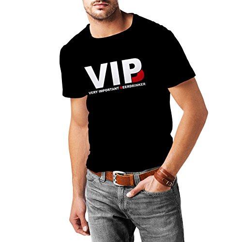 lepni.me Camisetas Hombre Bebedor de Cerveza Muy Importante - Alcohol, Borracho, Citas Divertidas para Beber - Ideas de Regalos chistosos, Ropa de Bar o de Fiesta (Large Negro Blanco)