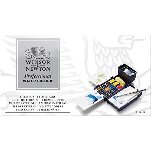 Winsor & Newton Profesional - Set caja de campo de 12 medio godets de acuarelas, multicolor