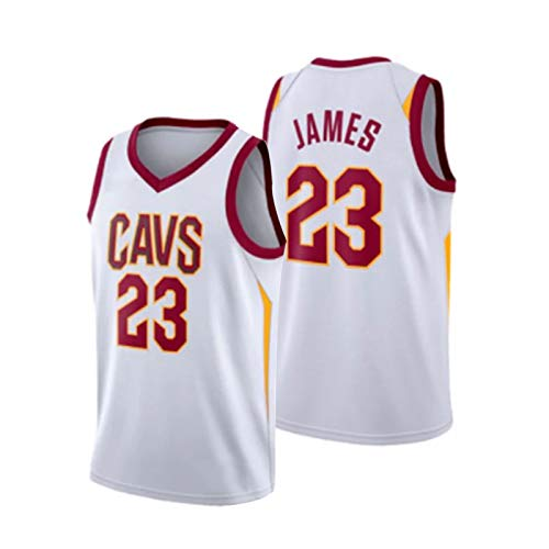 FGNB James Rookie Basketball Jersey, Cavaliers No. 23 Baloncesto Uniforme de Baloncesto Sweat-Absorbent Y Sports Shirt Shirt Retro Colección S-XXL White-XXL