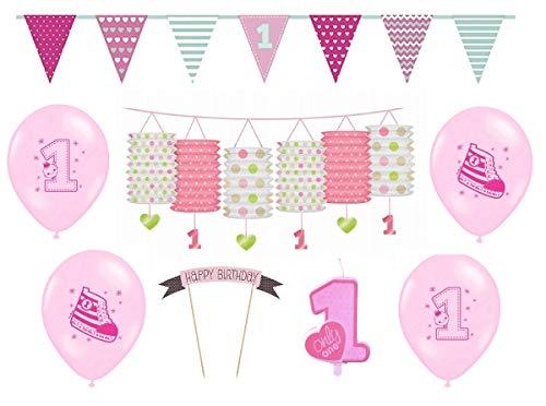 Feste Feiern Kindergeburtstag Mädchen erster 1. Geburtstag 8 Teile Deko-Set rosa pink Happy Birthday kleine Prinzessin