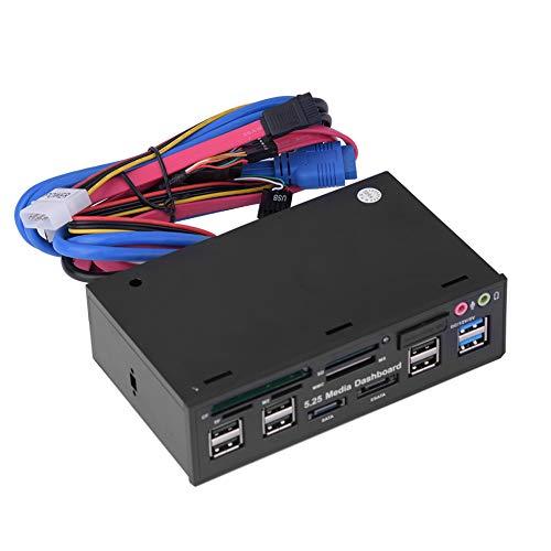 Lector de tarjetas interno, tablero de instrumentos de medios de 5,25 pulgadas Panel frontal USB 3.0   2.0 HUB eSATA Lector de tarjetas múltiples de audio SATA, lectores de tarjetas de memoria interna