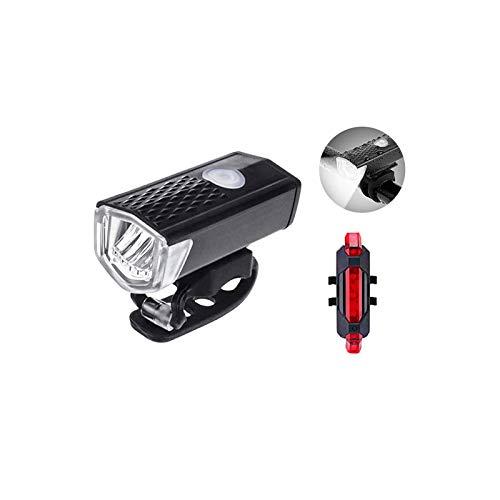 Big Incisors luces LED para bicicletas juego de luces, luces juego de luces recargables USB, luces traseras LED para bicicletas, luces delanteras para hombres, mujeres con banco de energía