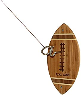 Tiki Toss Hook and Ring Toss Tailgating Game Football Edition - 100% Bamboo Party Game for Indoor or Outdoor Family Fun (All Parts Included)