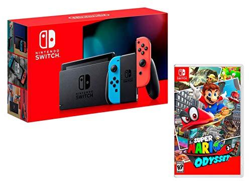 Nintendo Switch Console Rouge Néon/Bleu Néon 32Go [Nouveau modèle] Super Mario Odyssey