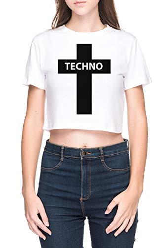 Techno Musik Damen Bauchfreies Crop T-Shirt Weiß