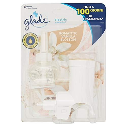 Glade Diffusore di Oli Essenziali Elettrico, Starter Set, Fragranza Romantic Vanilla Blossom, Confezione da 1 Ricarica, 20 ml