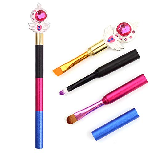 HZD Personalized Stitching Anime Makeup Brushes Cute Cosmetic Three in One Eyeshadow Eyebrow Lipsticks Brush,Sailor Moon