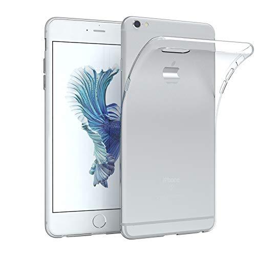EAZY CASE Hülle kompatibel mit iPhone 6 Plus / 6S Plus Schutzhülle Silikon, Ultra dünn Slimcover, Handyhülle, Silikonhülle, Backcover, Transparent/Durchsichtig, Transparent