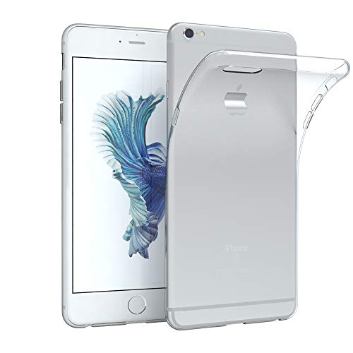 EAZY CASE Hülle kompatibel mit Apple iPhone 6 Plus / 6S Plus Schutzhülle Silikon, Ultra dünn Slimcover, Handyhülle, Silikonhülle, Backcover, Transparent/Durchsichtig, Transparent