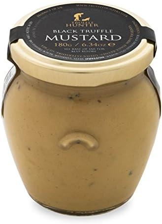 TruffleHunter Real Black Truffle Dijon Mustard (180g) - Gourmet Food Condiments Cooking Sauce Garnish Dip Seasoning Dressing Spread - Vegetarian, Vegan and Gluten Free