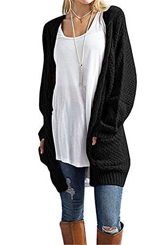 CNFIO Pullover Damen Strickjacke Lässig Casual Cardigan Langarm Outwear mit Taschen Mantel Jacke Winter schwarz XL