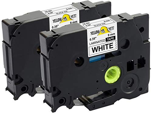 Yellow Yeti 2 Schriftbander TZe-221 TZ-221 schwarz auf weiß 9mm x 8m Etikettenbänd kompatibel für Brother P-Touch PT-1000 PT-H100 PT-D210VP PT-D400 PT-D600VP PT-P700 PT-P750W CUBE Etikettendrucker