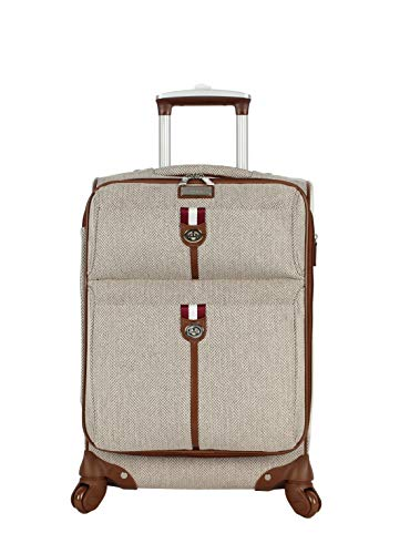 Nicole Miller New York Luggage Collection - Designer Lightweight Softside Expandable Suitcase- 20 Inch Carry On Bag with 4-Rolling Spinner Wheels (Jacquard Brown)