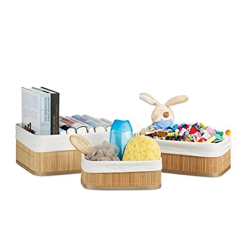 Relaxdays Regalkorb Set Bambus 12,5 x 32 x 22 HxBxT, 3er Set Aufbewahrungsboxen rechteckig für Schrank Schublade, natur
