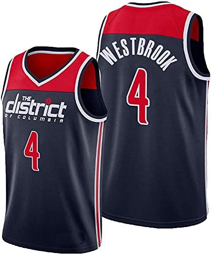 WHYYT NBA Men's Jerseys - NBA Washington Wizards # 4 Russell Westbrook Basketball Jersey - Cómoda camionera de Malla Bordada Transpirable,A,S(165~170CM/50~65KG)