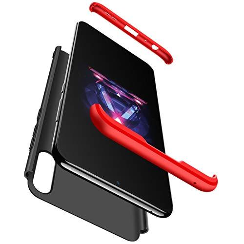 Compatible para ASUS ZENFONE MAX Pro (M1) ZB602KL ZB601KL X00TD Funda Cubierta protección Frontal/Retro 360 Full rígido Delgado Retro + Cornice + Film Vidrio Templado a Prueba de Golpes (Rojo / negro)