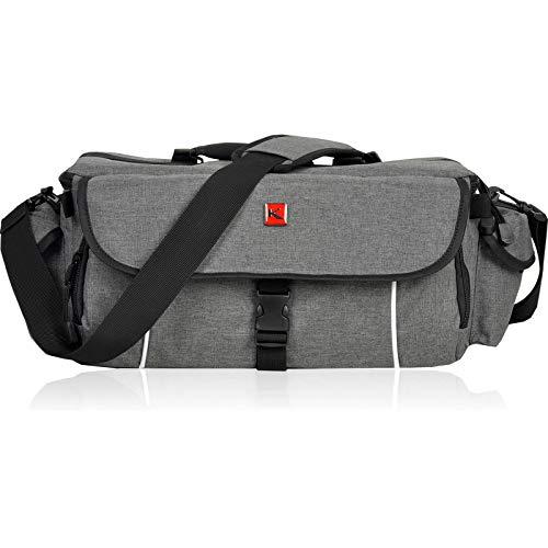 XL Kameratasche KEANU Fototasche :: 10 x Starke Polster Pads, Stativhalterung, 2 Seitentaschen :: Cambridge PRO für Video D-SLR Go Kamera mit Wechselobjektive mit Zubehör (Grau Melange)