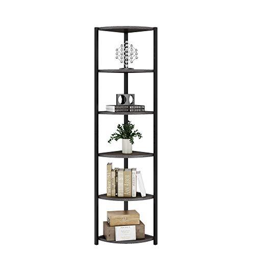 HOMECHO 6-Tier Corner Ladder Wall Shelf, Wall Storage Rack Organizer, Vintage Industrial Organizer Free Standing Unit, Ladder Bookcase for Home, Living Room, Bedroom, Balcony, 165x33.7x33.7cm