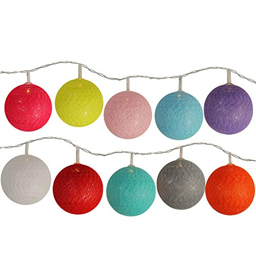 10 Battery Operated Multi-Color Ball LED Summer String Lights - 4.5 ft Clear Wire