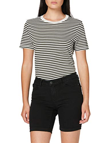 VERO MODA Damen Vmhot Seven Nw DNM Long F Color Jeans-Shorts, Schwarz (Black), L