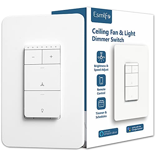 Esmlfe Smart Ceiling Fan Control and Dimmer Light Switch,Single Pole Wi-Fi Light Switch Fan Speed Control, Compatible with Alexa/Google Assistant, Schedule, Remote Control,Neutral Wire Needed