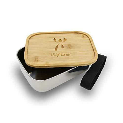 ISYbe Metall-Brotdose für Kinder, Edelstahl, BPA-frei, Bambusdeckel, nachhaltig