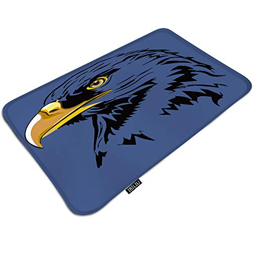IBILIU American Eagle Door Mat Bath Mat,Regal Eagle Head Falcon Hawk Dark Blue Non Slip Indoor Outdoor doormats Bath Mats for Bathroom Rug Bathroom Floor mat 19.5x31.5