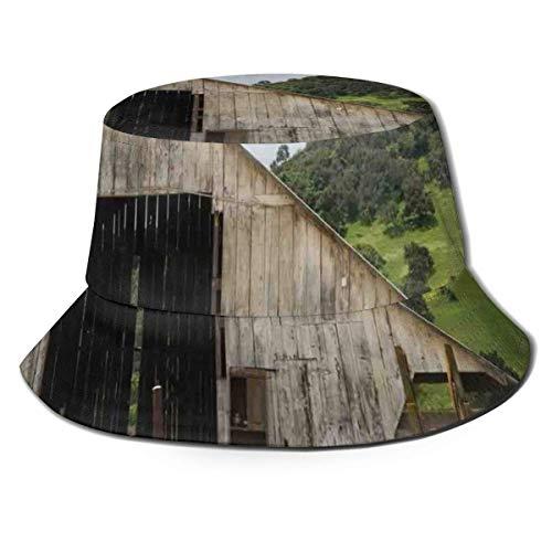 SDFRG Sommer Visier Hut Eimer Kappe Alte Holzscheune mit verrostetem Traktor Hillside Umschlossen mit Holzzaun und Bäumen Fischerhut für Männer und Frauen