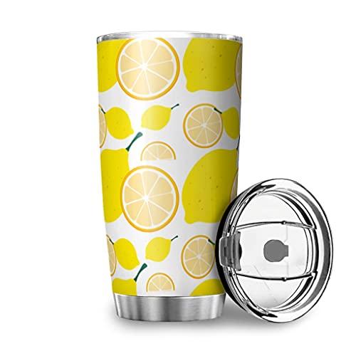 Facbalaign Taza de café de color amarillo limón, con tapa, 600 ml, color blanco