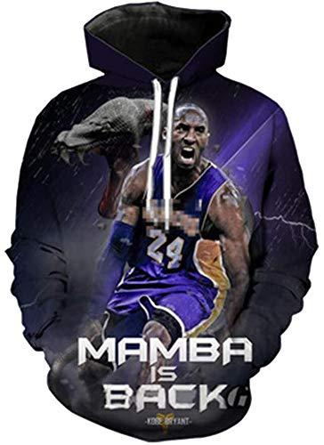 Elegante y cómodo L.A Lakers Kobe Bryant Unisex Sudadera con capucha # 24 Los aficionados de baloncesto sudadera con capucha 3D Deportes sudadera con capucha de manga larga chaqueta - Adolescentes reg